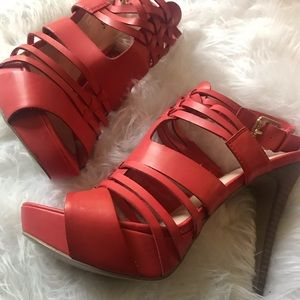 Red strappy GUESS heels